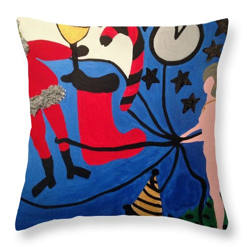 Staes Throw Pillow featuring the painting Holidays by Erika Chamberlin