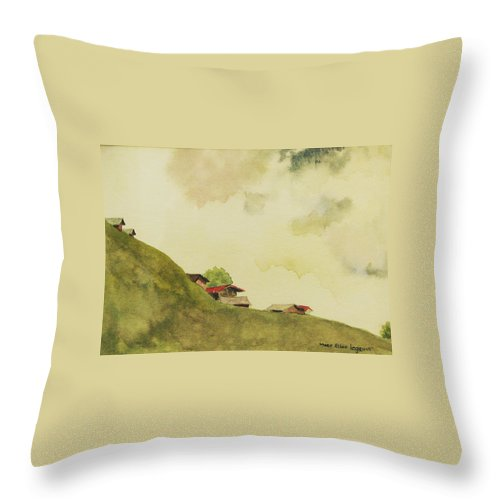 Swiss Throw Pillow featuring the painting Grindelwald Dobie Inspired by Mary Ellen Mueller Legault