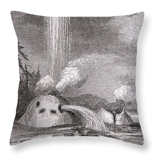 Grotto Geyser Throw Pillow featuring the photograph Grotto Geyser Yellowstone National Park by NPS Photo Thomas Moran