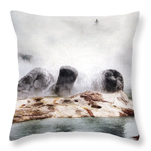Grotto Geyser Throw Pillow featuring the photograph Grotto Geyser Yellowstone National Park by NPS Photo Detroit Photographic Co