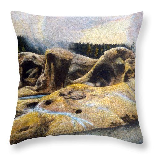 Grotto Geyser Throw Pillow featuring the photograph Grotto Geyser Yellowstone Np 1928 by NPS Photo Asahel Curtis