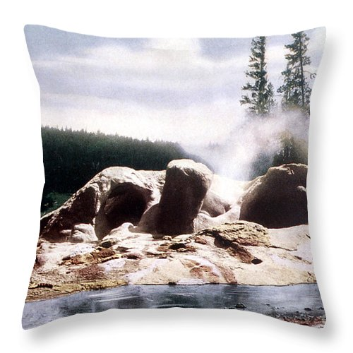 Grotto Geyser Throw Pillow featuring the photograph Grotto Geyser Yellowstone Np by NPS Photo Frank J Haynes