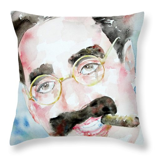 Groucho Throw Pillow featuring the painting Groucho Marx Watercolor Portrait.2 by Fabrizio Cassetta