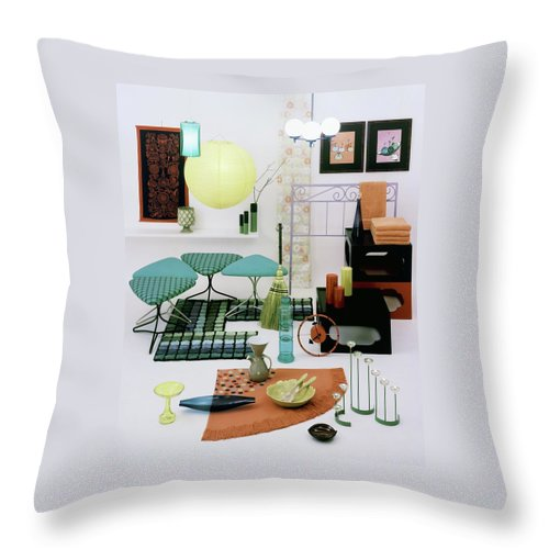 Home Throw Pillow featuring the photograph Group Of Furniture And Decorations In 1960 Colors by Tom Yee