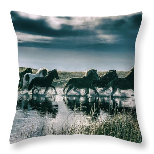 Horse Throw Pillow featuring the photograph Group Of Horses Crossing A River by Arctic-images