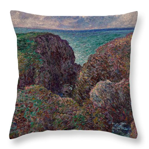 Monet Throw Pillow featuring the painting Group Of Rocks At Port Goulphar by Claude Monet
