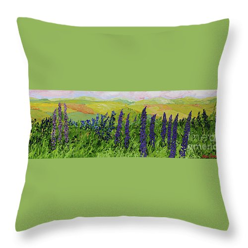 Landscape Throw Pillow featuring the painting Growing Tall by Allan P Friedlander