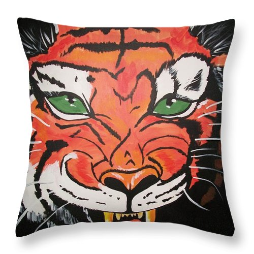 Tiger Throw Pillow featuring the painting Growling Tiger by Sherry Cordle