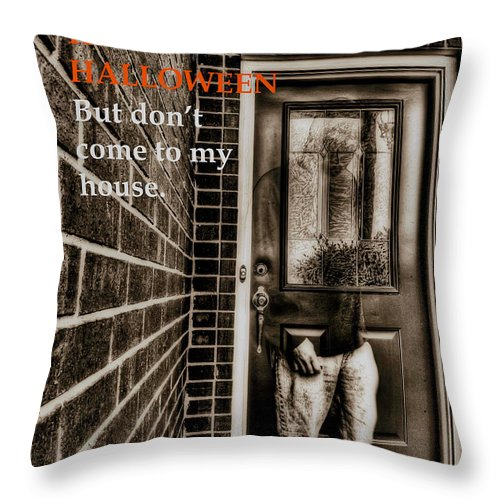 Halloween Throw Pillow featuring the photograph Grumpy Ghost by Mark Alder