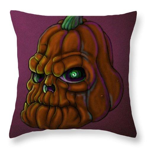 Pumpkin Throw Pillow featuring the digital art Grumpypumps by Lance Shaffer