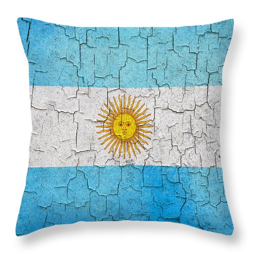 Aged Throw Pillow featuring the digital art Grunge Argentina Flag by Steve Ball