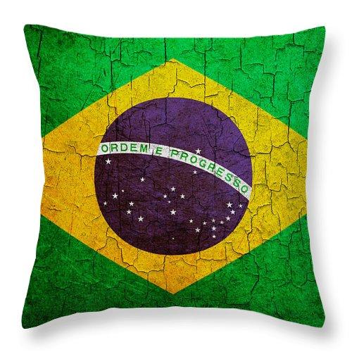 Aged Throw Pillow featuring the digital art Grunge Brazil Flag by Steve Ball
