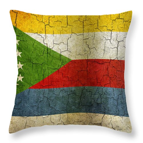 Aged Throw Pillow featuring the digital art Grunge Comoros Flag by Steve Ball