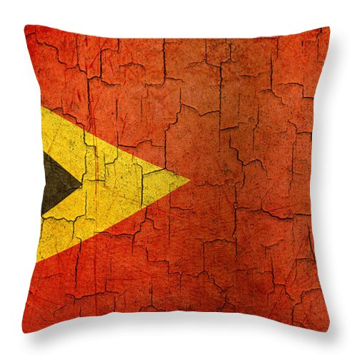 Aged Throw Pillow featuring the digital art Grunge East Timor Flag by Steve Ball