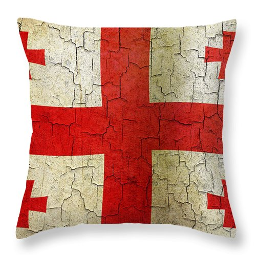 Aged Throw Pillow featuring the digital art Grunge Georgia Flag by Steve Ball