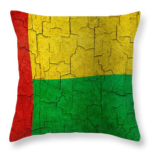 Aged Throw Pillow featuring the digital art Grunge Guinea-bissau Flag by Steve Ball