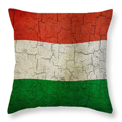 Aged Throw Pillow featuring the digital art Grunge Hungary Flag by Steve Ball