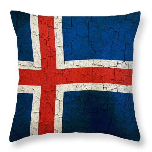 Aged Throw Pillow featuring the digital art Grunge Iceland Flag by Steve Ball