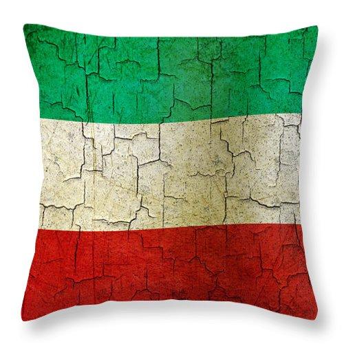 Aged Throw Pillow featuring the digital art Grunge Kuwait Flag by Steve Ball