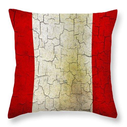 Aged Throw Pillow featuring the digital art Grunge Peru Flag by Steve Ball