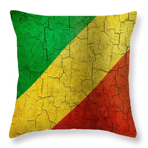 Aged Throw Pillow featuring the digital art Grunge Republic Of The Congo Flag by Steve Ball