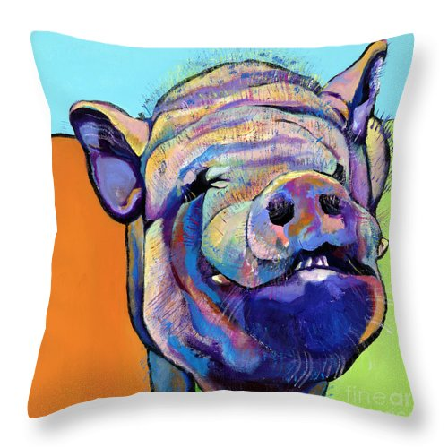 Pat Saunders-white Canvas Prints Throw Pillow featuring the painting Grunt  by Pat Saunders-White