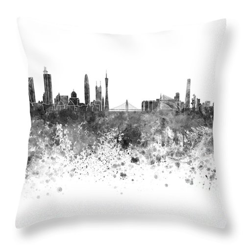 Guangzhou Skyline Throw Pillow featuring the painting Guangzhou Skyline In Black Watercolor On White Background by Pablo Romero
