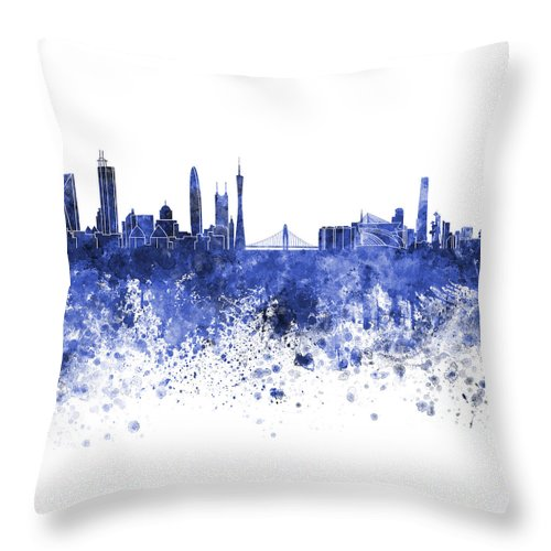 Guangzhou Skyline Throw Pillow featuring the painting Guangzhou Skyline In Blue Watercolor On White Background by Pablo Romero