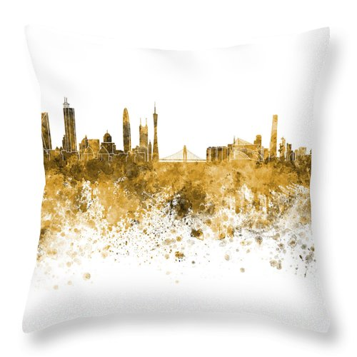 Guangzhou Skyline Throw Pillow featuring the painting Guangzhou Skyline In Orange Watercolor On White Background by Pablo Romero