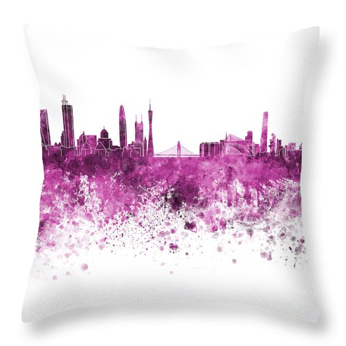 Guangzhou Skyline Throw Pillow featuring the painting Guangzhou Skyline In Pink Watercolor On White Background by Pablo Romero