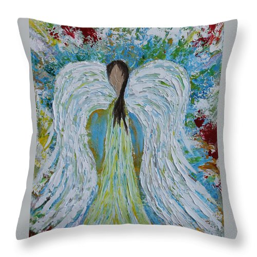 Acrylic Throw Pillow featuring the painting Guardian Angel V by Molly Roberts