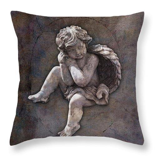 Cherub Throw Pillow featuring the digital art Guardian Of Love by Gary D Baker
