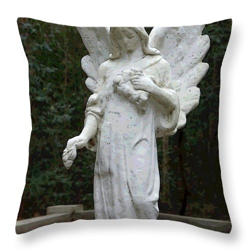 Angel Throw Pillow featuring the photograph Guardian by Suzanne Gaff