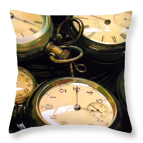 Clocks Throw Pillow featuring the painting Guardians Of Time by Denny Bond