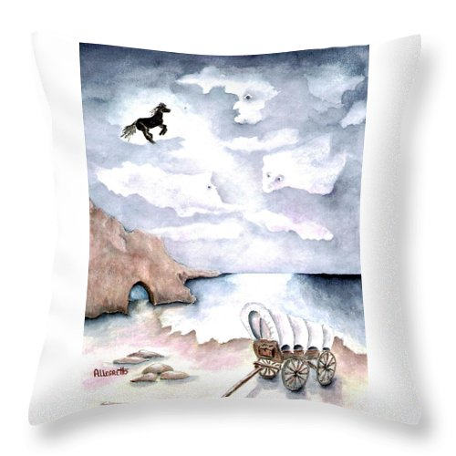 Pamela Allegretto Throw Pillow featuring the painting Guardians by Pamela Allegretto