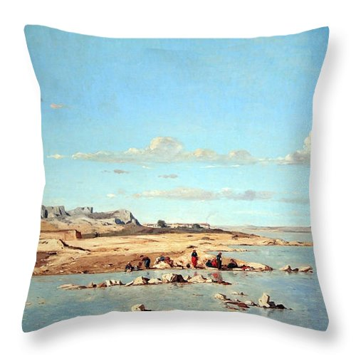 Washerwomen On The Banks Of The Durance Throw Pillow featuring the photograph Guigou's Washerwomen On The Banks Of The Durance by Cora Wandel