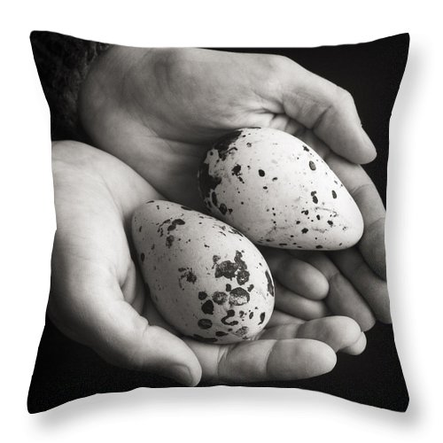 Eggs Throw Pillow featuring the photograph Guillemot Eggs Black And White by For Ninety One Days
