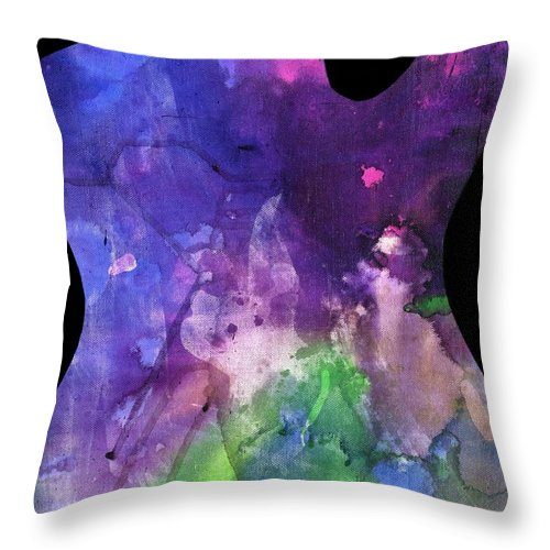 Guitar Throw Pillow featuring the painting Guitar 1 by Matthew Howard