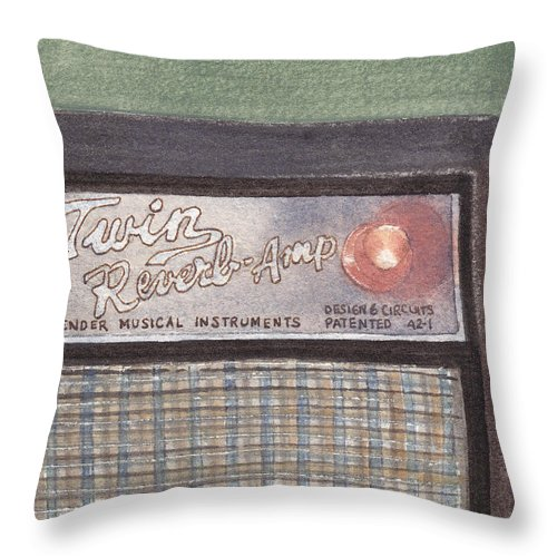 Guitar Throw Pillow featuring the painting Guitar Amp Sketch by Ken Powers