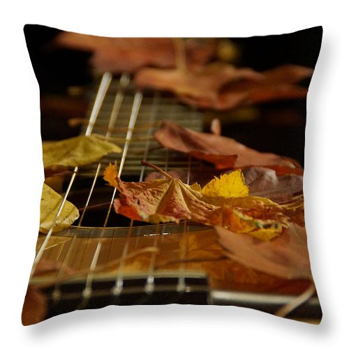 Guitar Throw Pillow featuring the photograph Guitar Autumn 2 by Mick Anderson