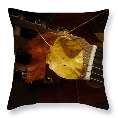 Guitar Throw Pillow featuring the photograph Guitar Autumn 4 by Mick Anderson