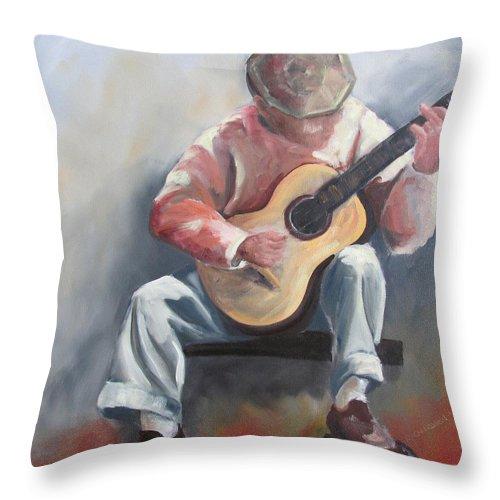 Guitar Throw Pillow featuring the painting Guitar Man by Susan Richardson