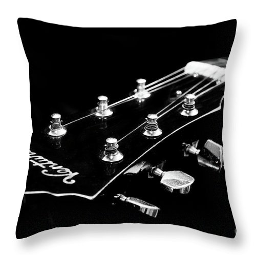 Guitar Throw Pillow featuring the photograph Guitar Ventura Head Stock 1 by Andee Design