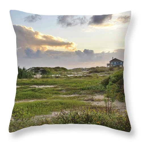 Gulf Throw Pillow featuring the photograph Gulf Coast Galveston Tx by Christine Till