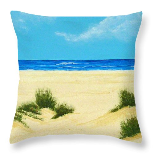 Beach Throw Pillow featuring the painting Gulf Coast Iv by Nancy Nuce