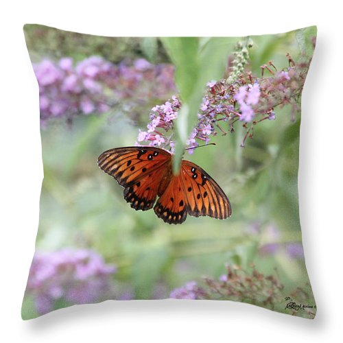 Gulf Fritillary Throw Pillow featuring the photograph Gulf Fritillary Agraulis Vanillae-featured In Nature Photography-wildlife-newbies-comf Art Groups by Ericamaxine Price