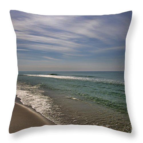 Beach Scene From The Gulf Of Mexico. Please Note The v Formation Of Birds High In The Sky. Throw Pillow featuring the photograph Gulf Of Mexico by David Arment