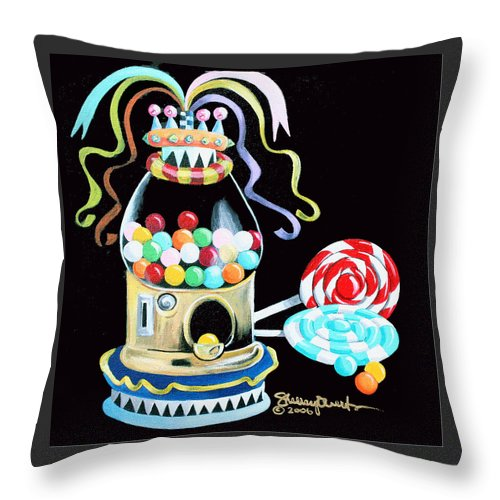Gumball Machine Throw Pillow featuring the mixed media Gumball Machine And The Lollipops by Shelley Overton