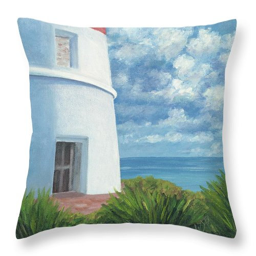 Seascape Throw Pillow featuring the painting Gun Cay Lighthouse by Danielle Perry