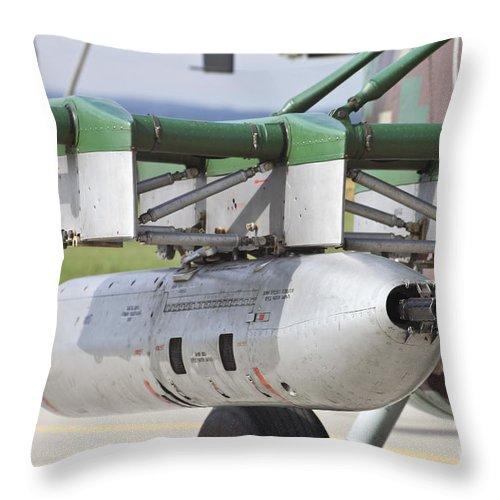 Czech Republic Throw Pillow featuring the photograph Gun Pod On A Slovakian Mi-17 Helicopter by Timm Ziegenthaler